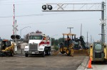 Repairing asphalt in the crossing, Stockton, CA