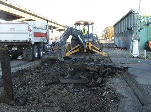 asphalt removal from a roadway